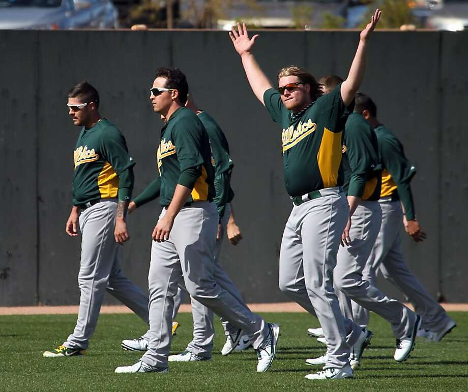 A.J. Griffin tries to generate excitement for the A's, but among baseball's prognosticators, it's no go. Photo: Lance Iversen, The Chronicle