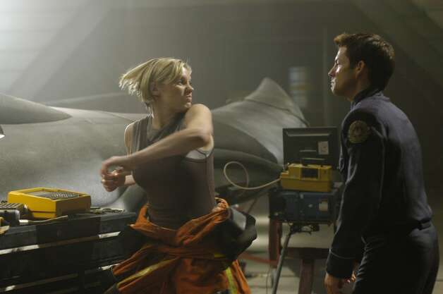Katee Sackhoof's Starbuck had a lot of issues, including some rage in this 2005 episode. She's pictured with Jamie Bamber as Apollo'' Adama.