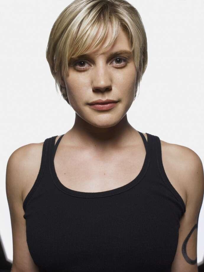 Katee Sackhoff in 2004, as Lt. Kara ''Starbuck'' Thrace.