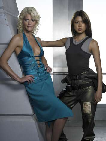 Cylons Six and Eight, played by Tricia Helfer (L) and Grace Park.