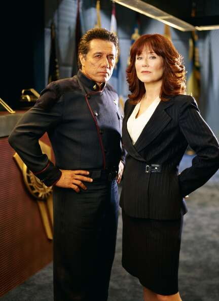 Mary McDonnell, right, played President Laura Roslin. She's pictured in 2004, with actor Edwa