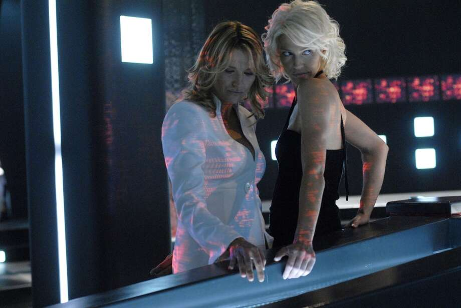 Here's D'Anna Biers (Lucy Lawless), left, with Number Six (Tricia Helfer) in the episode ''Hero.''