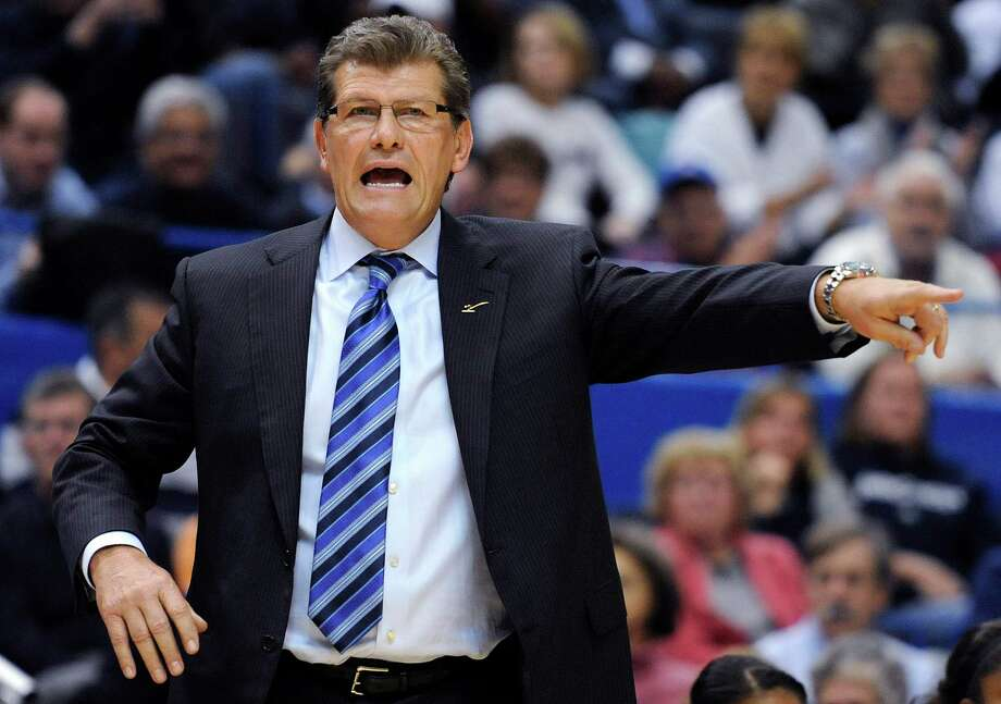 Connecticut coach Geno Auriemma gestures during the second half of an NCAA college basketball game against Maryland in Hartford, Conn., Monday, Dec. 3, 2012. Connecticut won 63-48. (AP Photo/Jessica Hill) Photo: Jessica Hill, Associated Press / FR125654 AP