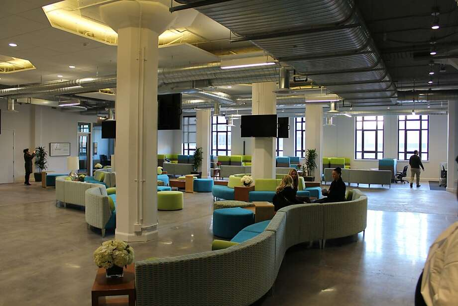 Yammer's common area includes plenty of space for employees to congregate and work. The firm recently moved into the S.F. Furniture Mart building. Photo: By Matt Jensen, Yammer