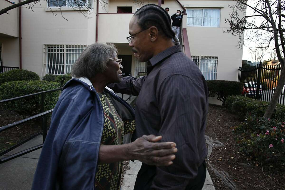 Ronald Ross, 51, greets his mother Thelma Ross as he comes home for the first time after being released from prison, Friday February 22, 2013, in Oakland, Calif. Ross who was wrongly convicted of attempted murder and sentenced to 25 years to life was released after 6 year and 10 months.