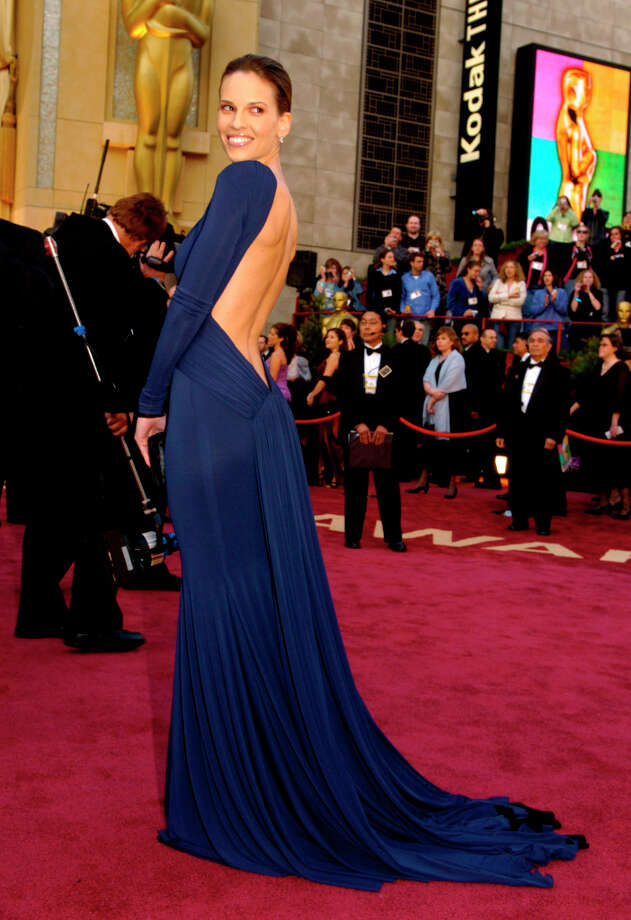 Hilary Swank wore a dramatic Guy Laroche navy gown in 2005, the year she won best actress for Million Dollar Baby.  Photo: CHRIS PIZZELLO, AP / AP