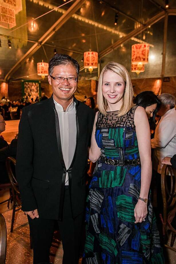 Yahoo co-founder Jerry Yang and CEO Marissa Mayer attend an exhibit at the Asian Art Museum in S.F. Photo: Drew Altizer Photography, Drew Altizer