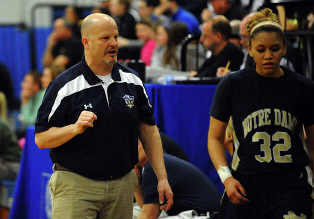 Notre Dame of Fairfield Head Coach Eric DeMarco, during SWC girls basketball tournament action against Lauralton Hall in Stratford, Conn. on Friday February 22, 2013. Photo: Christian Abraham / Connecticut Post