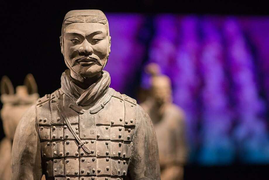 One of the terra-cotta warriors keeps watch at the Asian American Museum. Photo: Drew Altizer Photography, Drew Altizer