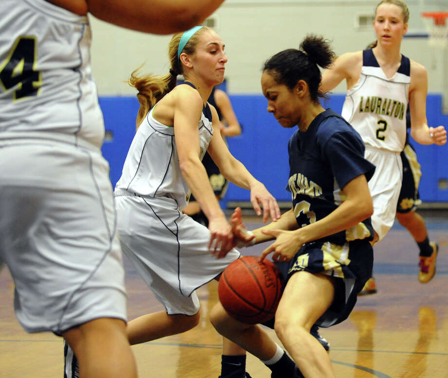 SWC girls basketball tournament action between Lauralton Hall and Notre Dame of Fairfield in Stratford, Conn. on Friday February 22, 2013. Photo: Christian Abraham / Connecticut Post