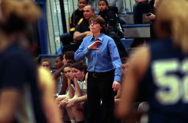 Lauralton Hall Head Coach Amanda Forucci, during SWC girls basketball tournament action against Notre Dame of Fairfield in Stratford, Conn. on Friday February 22, 2013. Photo: Christian Abraham / Connecticut Post