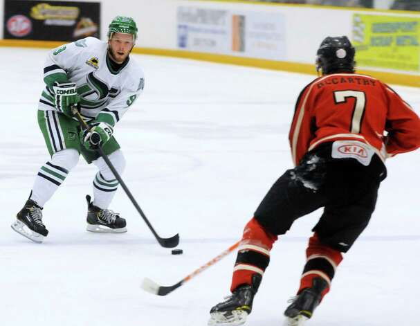 Danbury Whalers, Rick Vonderheok, has possession during a game against the Thousand Island Privateers in Danbury on Friday, Feb. 22, 2013. Photo: Lisa Weir / The News-Times Freelance
