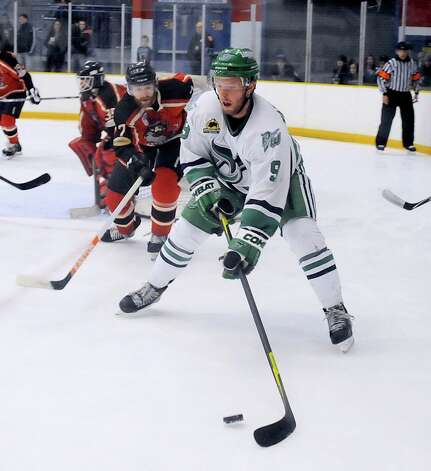 Danbury Whalers, Rich Vonderhoek, skates against the Thousand Island Privateers in Danbury on Friday, Feb. 22, 2013. Photo: Lisa Weir / The News-Times Freelance
