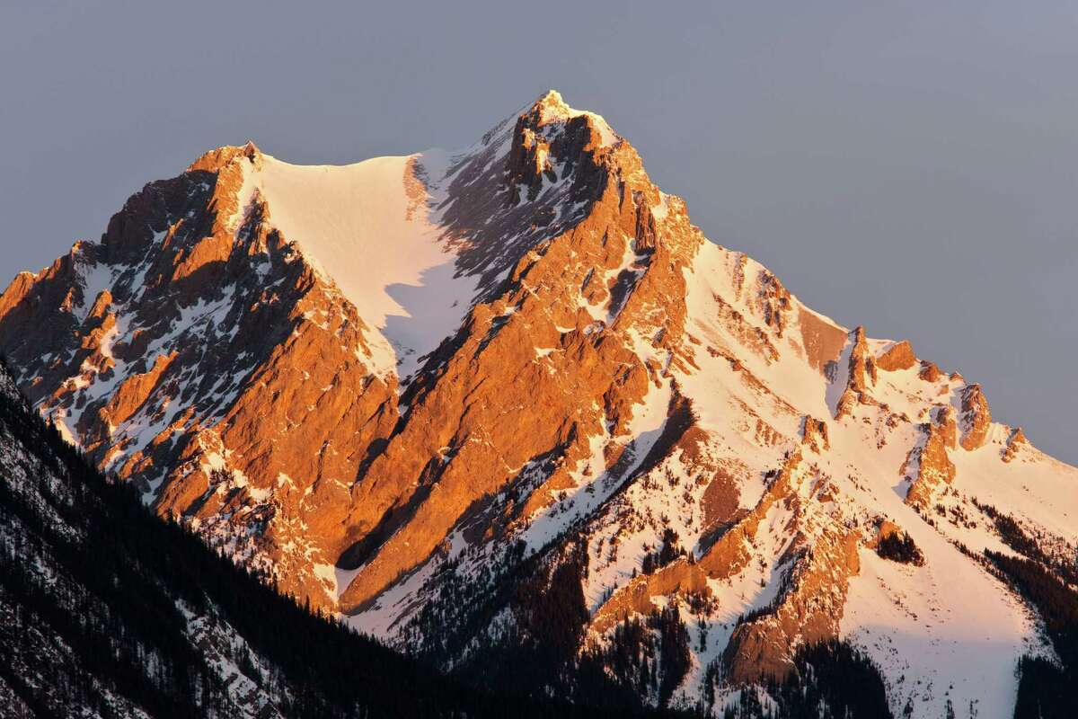 A mountain peak in the Miette Range, Jasper in the Canadian Rockies, Canada