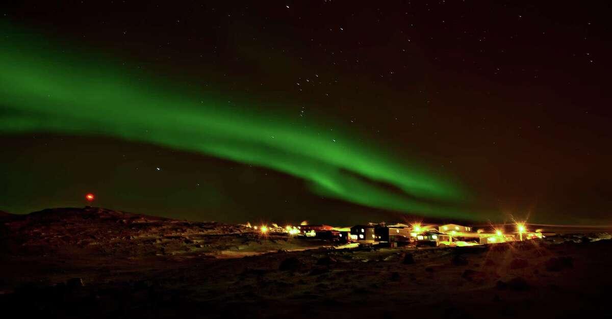 Northern lights, aurora borealis over Iqaluit, Nunavut, Canada