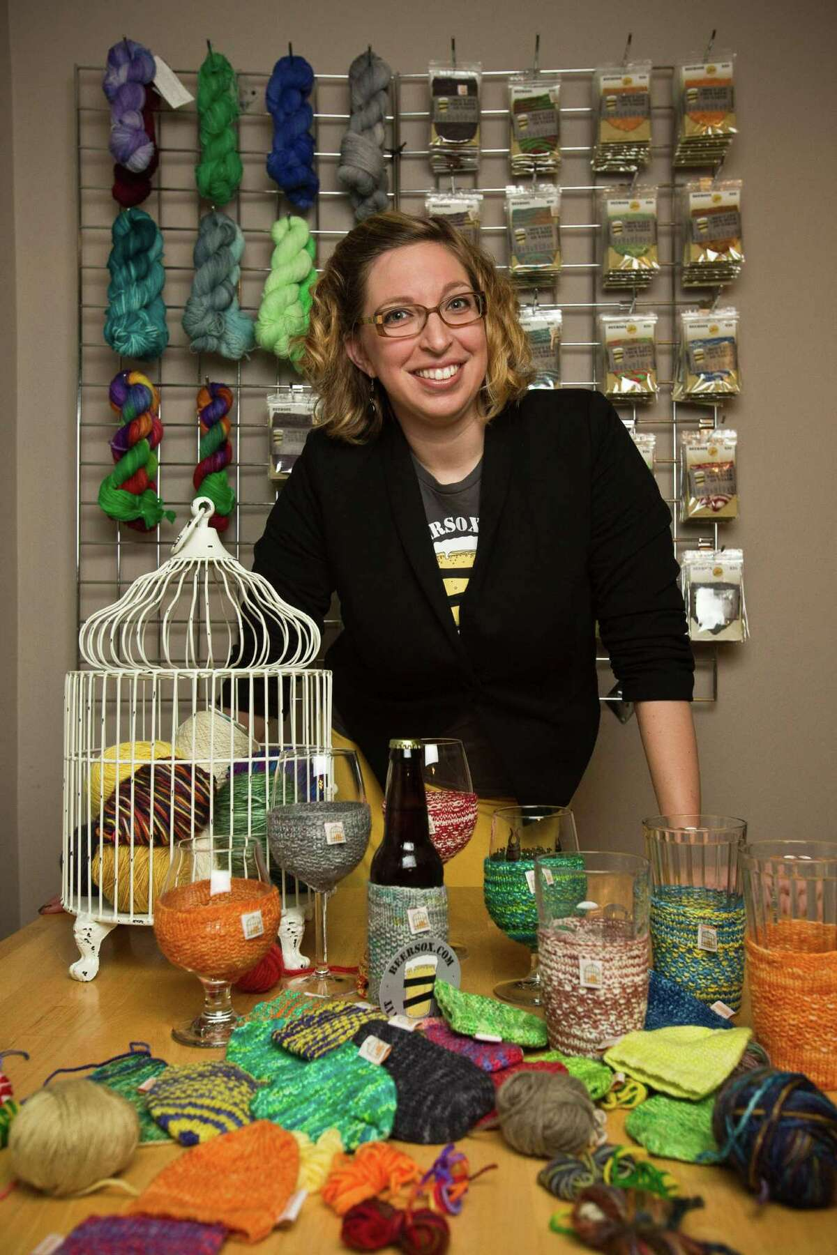 Katie Mahoney, owner of The Caged Yarn, in her home workshop Feb. 19, 2013 in Houston, TX.