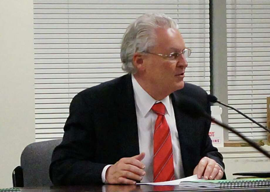 First Selectman Michael Tetreau unveils his proposed 2013-14 budget of $287 million to a Tuesday meeting of the Boards of Finance and Selectmen.   FAIRFIELD CITIZEN, CT 2/19/13 Photo: Genevieve Reilly / Fairfield Citizen