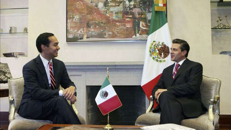 San Antonio Mayor Julián Castro chats with Enrique Peña Nieto, who was recently sworn in as the president of Mexico, at Los Pinos, the executive mansion. Photo: Courtesy Photo