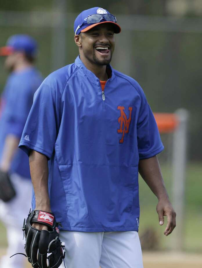 New York Mets starting pitcher Johan Santana reacts during a spring training baseball workout, Thursday, Feb. 21, 2013, in Port St. Lucie, Fla. (AP Photo/Julio Cortez) Photo: Julio Cortez