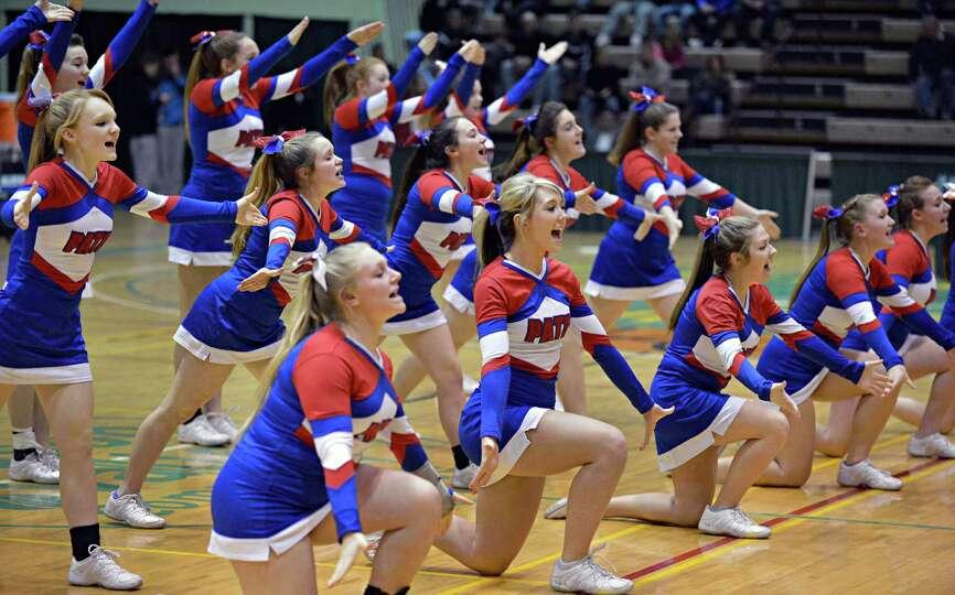 Broadalbin-Perth cheerleaders perform during Friday's game against Vliet at HVCC in Troy Feb. 22, 20