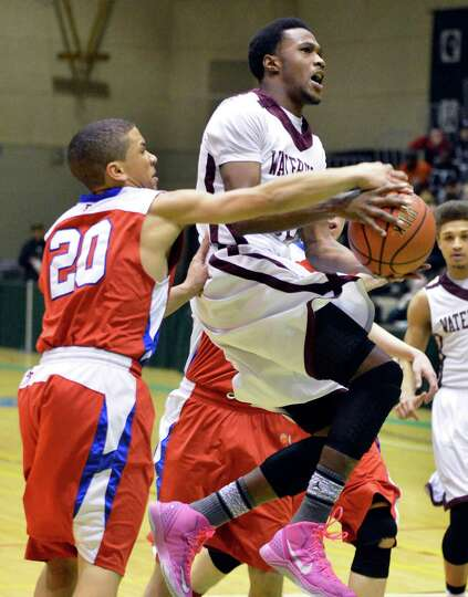 Broadalbin-Perth's  #20 Preston Taylor, left,  and Vliet's #10 Tyler McLeod during Friday's game at
