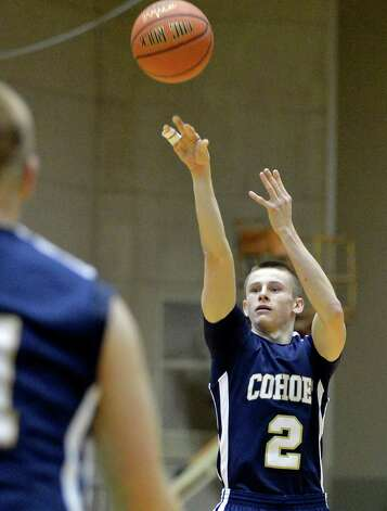 Cohoes' #2 Brandon LaForest drops in a three pointer during Friday's game against Catskill at HVCC in Troy Feb. 22, 2013.   (John Carl D'Annibale / Times Union) Photo: John Carl D'Annibale / 00021258A