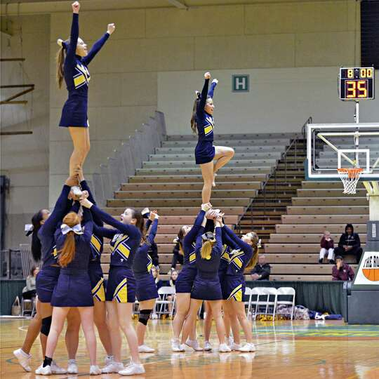 Cohoes cheerleaders perform during Friday's game against Catskill at HVCC in Troy Feb. 22, 2013.   (