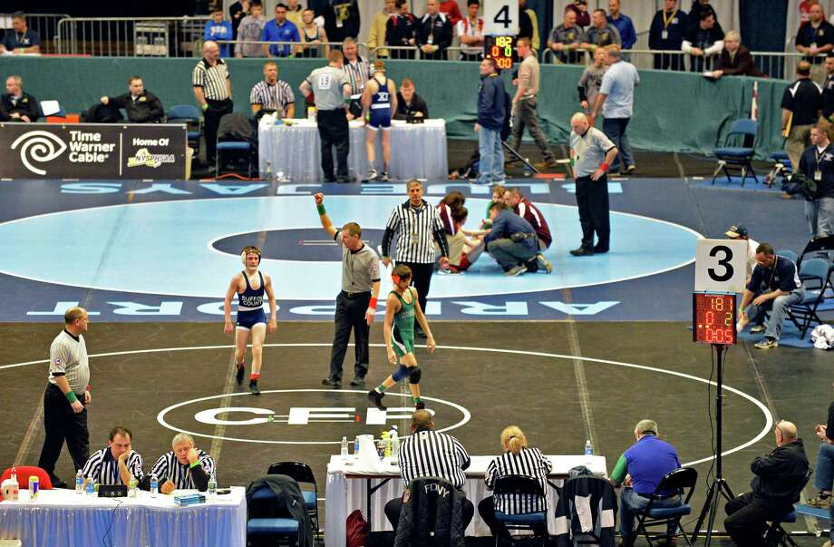 Quarterfinal matches begin at the state wrestling tournament at the Times Union Center in Albany Friday Feb. 22, 2013.  (John Carl D'Annibale / Times Union) Photo: John Carl D'Annibale / 00021228A