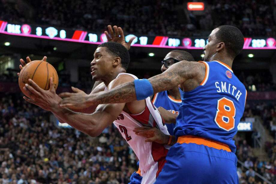 The Knicks could do little to hold back Raptors guard Rudy Gay, left, who scored a season-high 32 points in Friday's 100-98 win over New York. Photo: Chris Young, SUB / The Canadian Press