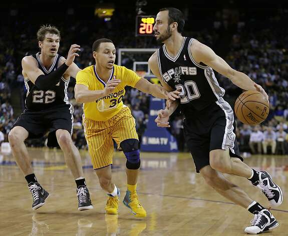San Antonio Spurs' Manu Ginobili, right, drives the ball against Golden State Warriors' Stephen Curry (30) during the first half of an NBA basketball game Friday, Feb. 22, 2013, in Oakland, Calif. At left is Spurs' Tiago Splitter (22). (AP Photo/Ben Margot) Photo: Ben Margot, Associated Press