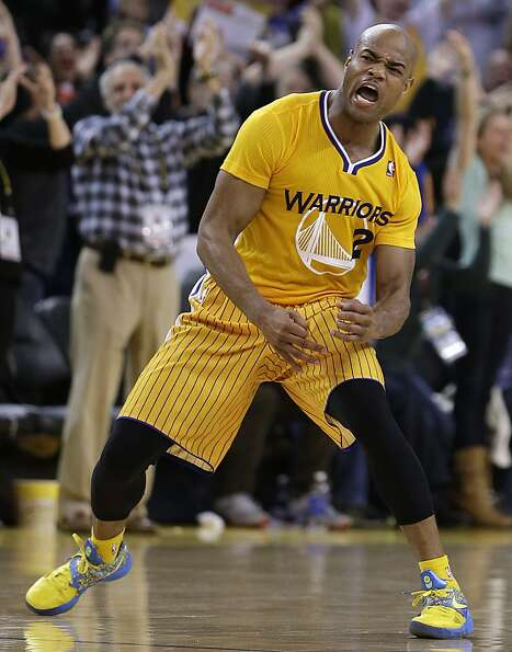 Golden State Warriors' Jarrett Jack reacts after scoring against the San Antonio Spurs during the se