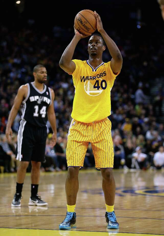 Harrison Barnes #40 of the Warriors shoots a free throw during their game against the Spurs at Oracle Arena on Feb. 22, 2013 in Oakland, California. Photo: Ezra Shaw, Getty Images / 2013 Getty Images
