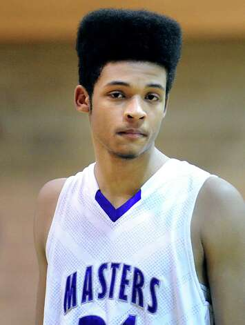 Jason Mask of Masters sports a flat-top hairstyle during the FAA boys high school basketball semifinal between Brunswick School and Masters at Brunswick in Greenwich, Friday night, Feb. 22, 2013. Photo: Bob Luckey / Greenwich Time