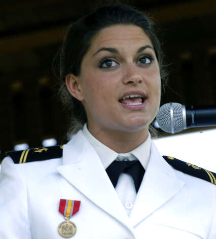 Kimberly Muirhead, a Sherman resident and Canterbury School graduate now attending the United States Naval Academy, offers a passionate reminder that service to our nation very much includes community service. She was her town's Memorial Day guest speaker. May 29, 2011 Photo: Norm Cummings