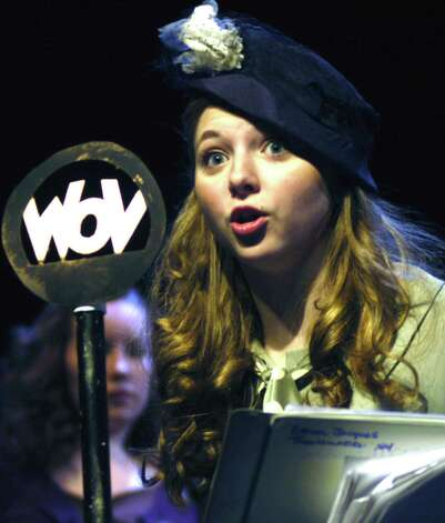 FineLine Theatre Arts in New Milford create magic with December 2011 performances by its acting and musical theater students. Here, Grace Kellogg of Roxbury performs with flair her role as radio personality Margie O'Brien during a show centered on a World War II-era radio broadcast from Hoboken, N.J. Photo: Norm Cummings