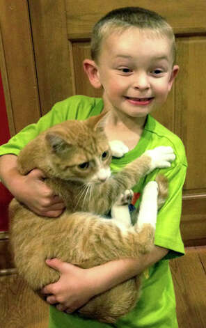Everett Wilkinson and the family cat, Peach, share a happy reunion days after the Aug. 29, 2012 explosion at their Sunny Valley home in New Milford. For days, the cat had been seen around the blast site but no one had been able to catch it.  Courtesy of Alice Wilkinson Photo: Contributed Photo