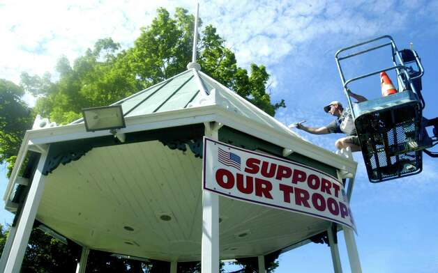 The venerable bandstand on the Village Green in New Milford was in desperate need of a facelift and longtime resident Rich Austin of RA Construction in New Milford rose to the occasion in June, 2012 Photo: Norm Cummings