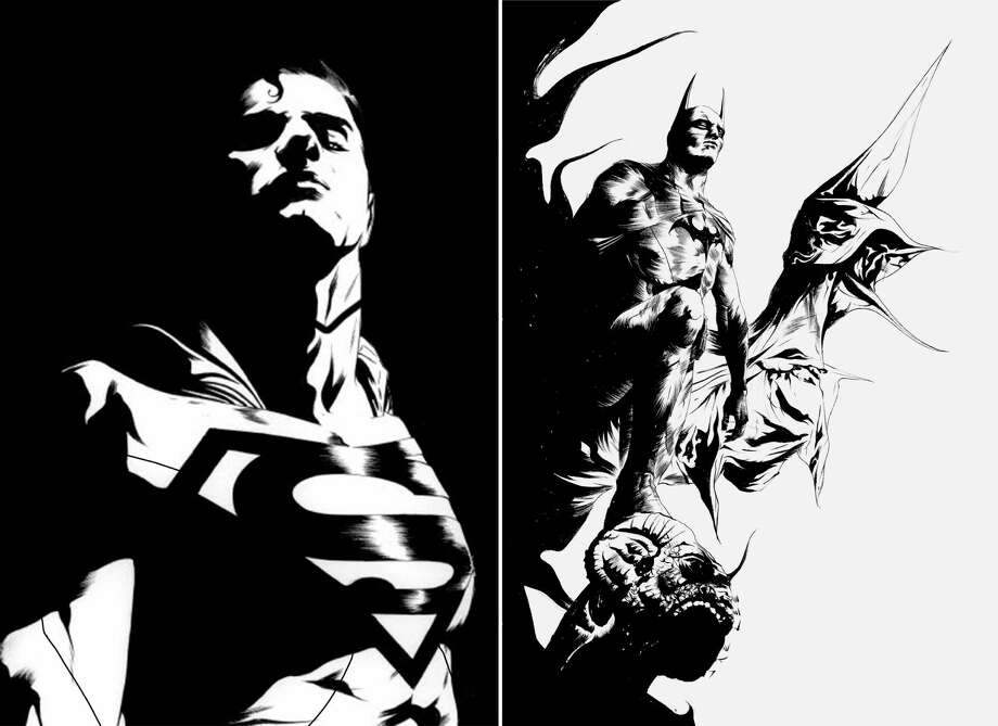 "This black and white combo image of two sketches released by DC Entertainment shows an image of Superman, left, and Batman.  DC Entertainment says it will unveil a new ongoing series focusing on Superman and Batman, two of the publisher's best-known and revered heroes. ""Batman/Superman"" is set to debut in June and will be written Greg Pak and illustrated by Jae Lee. It will focus on how the two iconic heroes first met in the publisher's relaunched universe, dubbed The New 52. (AP Photo/DC Entertainment) Photo: Uncredited"