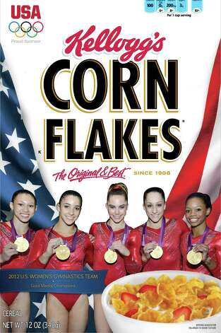 "The photographic talents of John Cheng of New Milford now grace the shelves of grocery stores and homes everywhere thanks to this image of the United States Summer Olympic team's ""Fab Five"" gymnasts on the latest edition box of Kellogg's Corn Flakes. Mr. Cheng captured the photo during the London Olympics and successfully marketed it soon thereafter. The five gold medal-winning gymnasts are, as most Americans probably know, from left to right, Kyla Ross, Aly Raisman, McKayla Maroney, Jordan Wieber and Gabby Douglas. August 2012  Courtesy of John Cheng Photo: Contributed Photo"