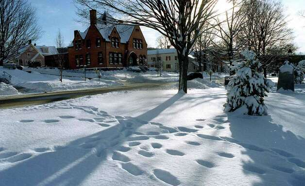 A snow scene on the Village Green in New Milford, circa 2007 Photo: Norm Cummings