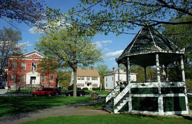 The iconic bandstand on the Village Green and Town Hall in New Milford circa 1999. Photo: Norm Cummings, Norm Cummings/Spectrum / The News-Times