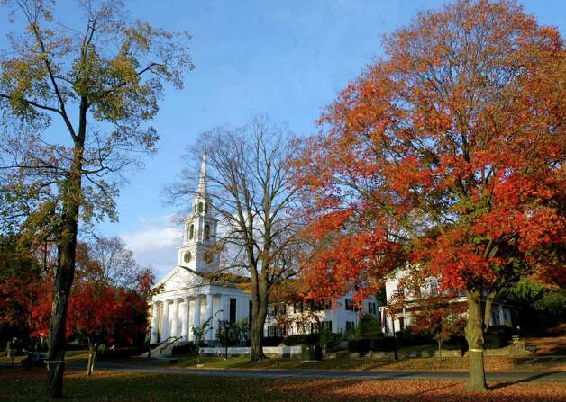 The First Congregational Church along the Village Green in New Milford, Oct. 14, 2006 Photo: Norm Cummings