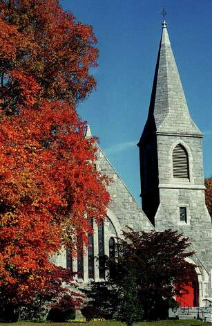 Foliage on the New Milford Village Green and the St. John's Episcopal Church, circa 2007 Photo: Norm Cummings