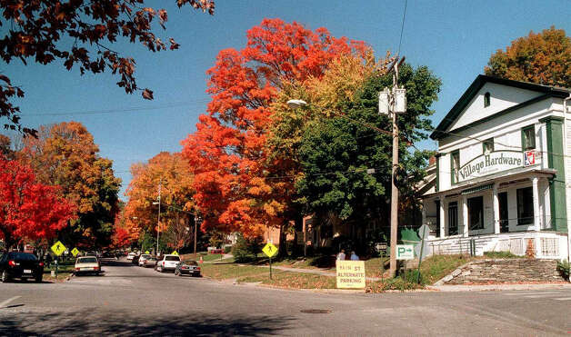 Fall foliage along the Village Green in New Milford, circa 1999. Photo: Norm Cummings/Spectrum