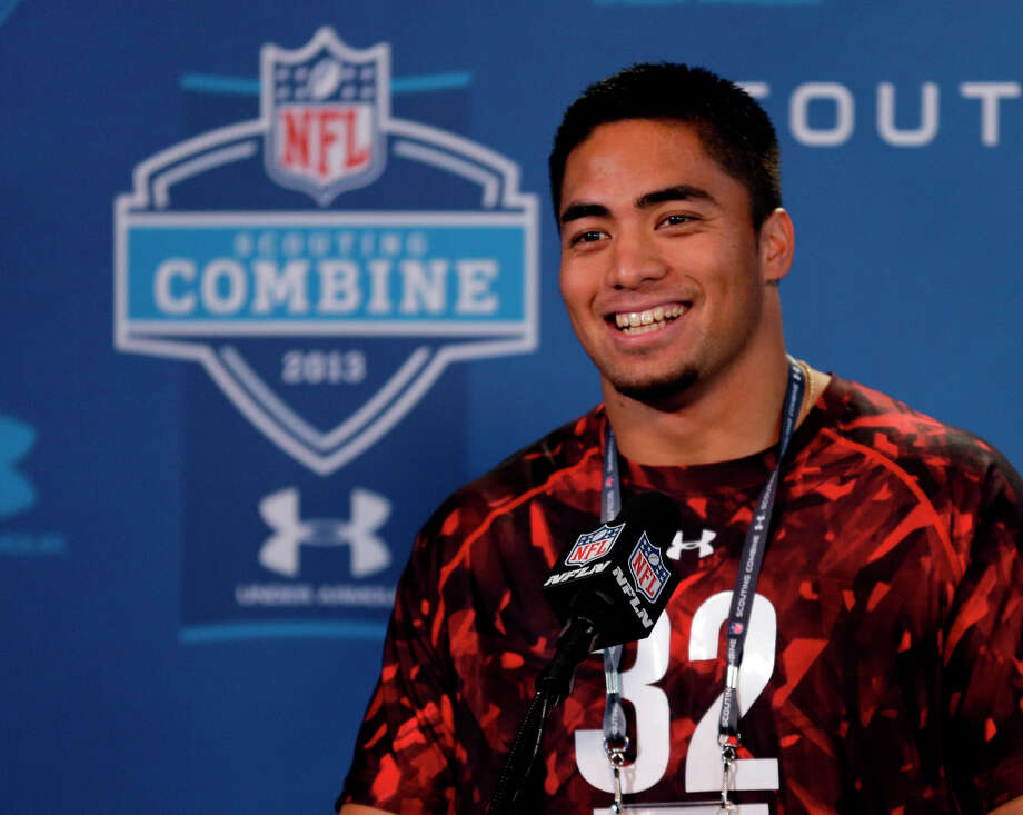 Notre Dame linebacker Manti Te'o answers questions during a news conference at the NFL combine. Photo: Michael Conroy