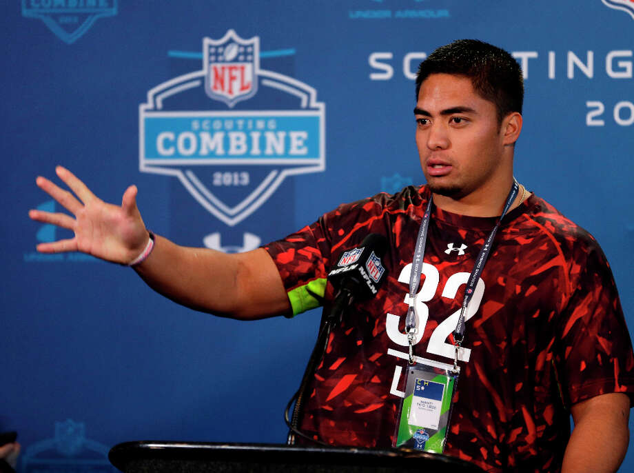 Manti Te'o of Notre Dame faces the media. Photo: Michael Conroy