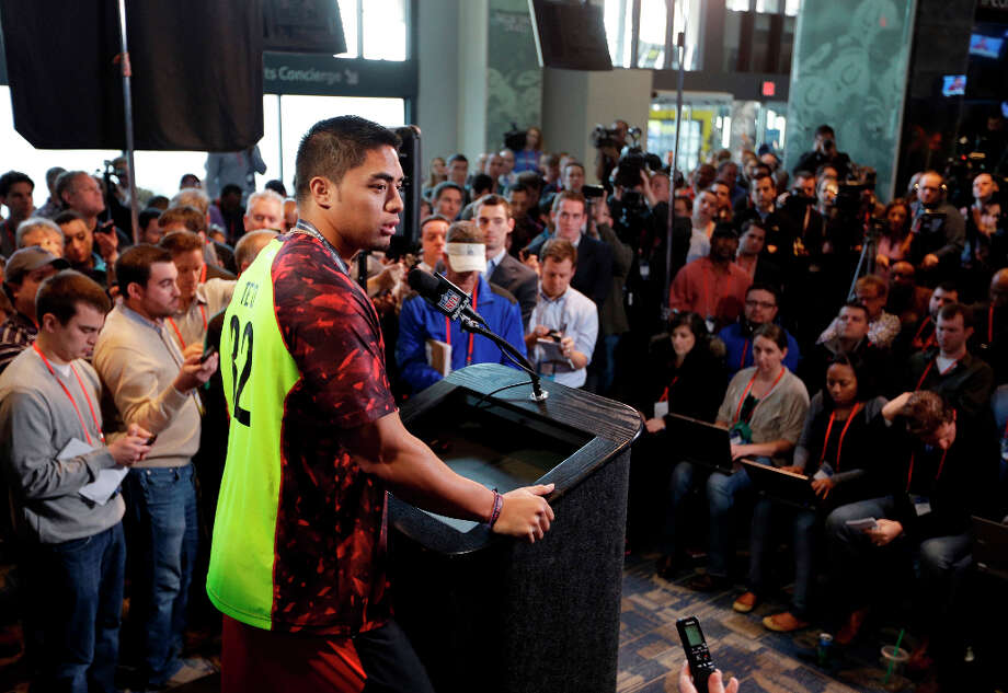 Notre Dame linebacker Manti Te'o responds to questions. Photo: Michael Conroy