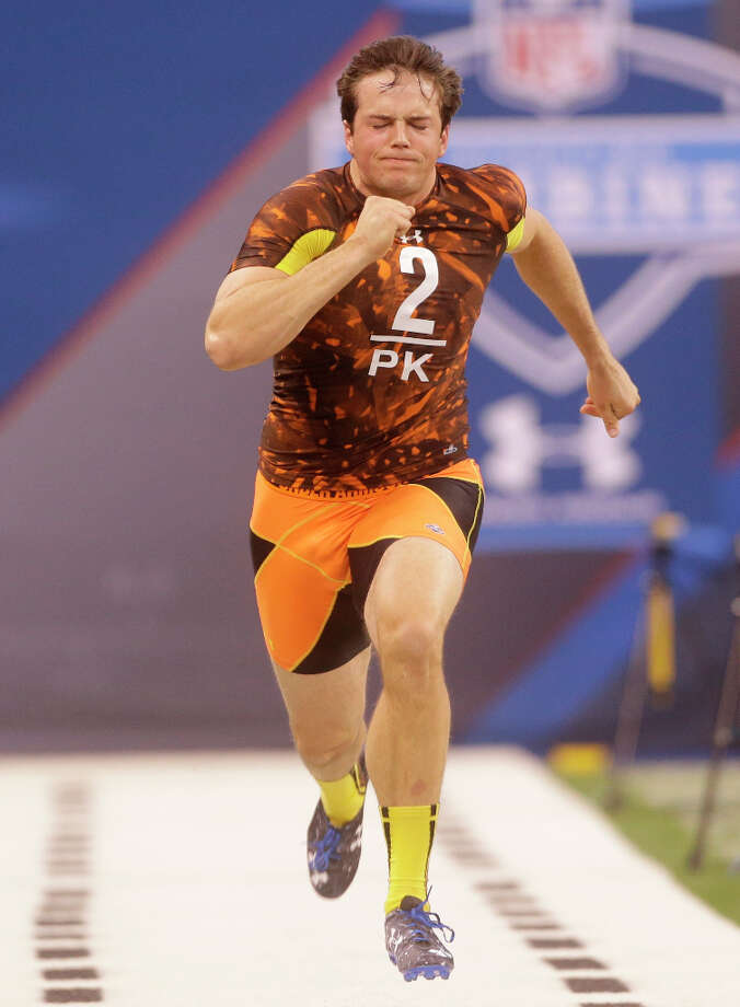 Arkansas kicker Dylan Breeding runs at the combine. Photo: Dave Martin