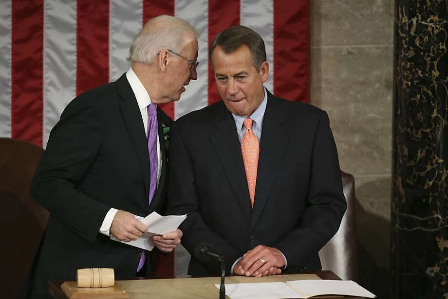 Vice President Joe Biden, left, and House Speaker John Boehner (R-Ohio) in the House Chamber of the U.S. Capitol ahead of President Barack Obama's State of the Union address, in Washington, Feb. 12, 2013. Obama's speech Tuesday night is designed to set in motion one of the most intensive legislative years in his presidency as the White House moves to capitalize on his victory in the fall. (Doug Mills/The New York Times) Photo: Doug Mills, New York Times