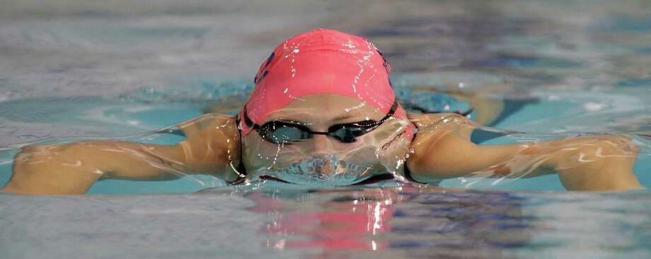 2/22/13  -  Lindsay Shabet of Katy Seven Lakes swims in the Girls 100-yard breaststroke during the prelims of the UIL state swimming championships in Austin, Texas February 22, 2013. (Erich Schlegel/Special Contributor) Photo: Erich Schlegel, Houston Chronicle / ©2013 Erich Schlegel